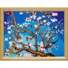 TL47 Цветущий миндаль В.ван Гог. Quick Tapestry. Набор для вышивания нитками на канве с нанесенным рисунком