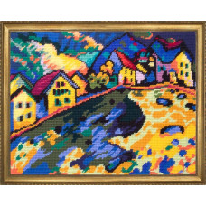 TL52 Дома на холме В. Кандинский. Quick Tapestry. Набор для вышивания нитками на канве с нанесенным рисунком
