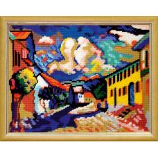 TL54 Мурнау - летний пейзаж. В. Кандинский. Quick Tapestry. Набор для вышивки нитками на канве с нанесенным рисунком