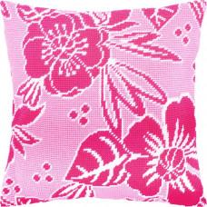 V220 Рожеві квіти. Подушка. Чарівниця. Набір для вишивання полукрестом на канві з нанесеним малюнком