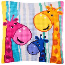 Z55 Жирафи. Подушка. Чарівниця. Набір для вишивання нитками на канві з нанесеним малюнком