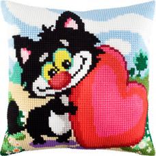 Z39 Щасливий кіт. Подушка. Чарівниця. Набір для вишивки нитками на канві з нанесеним малюнком